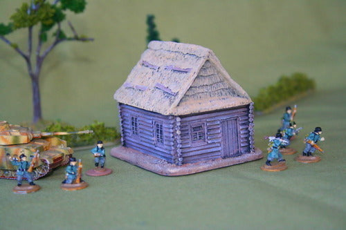 FOS3015 Log Cabin w/ high peaked thatched roof