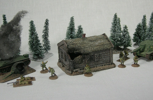 FOS3041 Battle Damaged Smolensk Log House