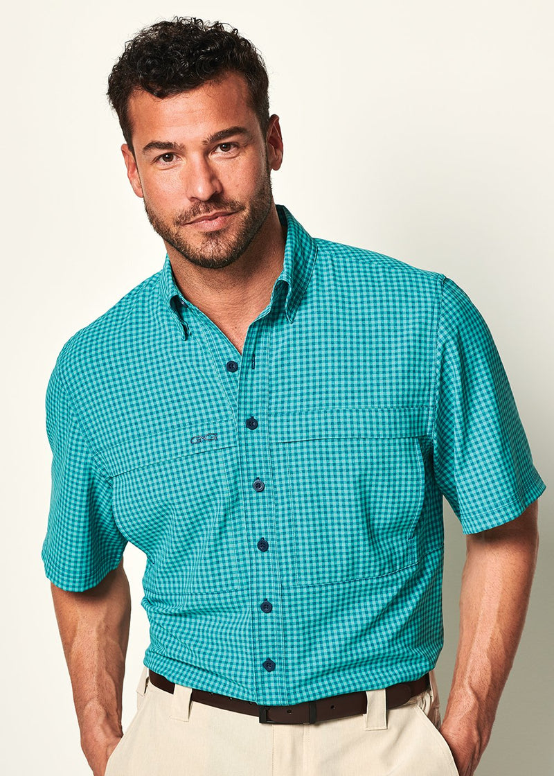 Microfiber Tekcheck Button Down Caribbean - the-attic-boutique-and-gift