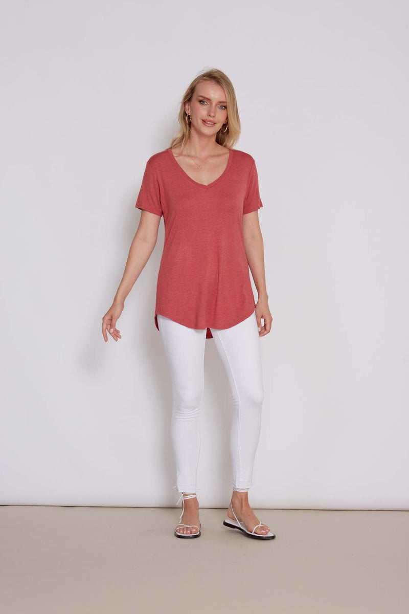 Megan Vneck Tee Rose - the-attic-boutique-and-gift
