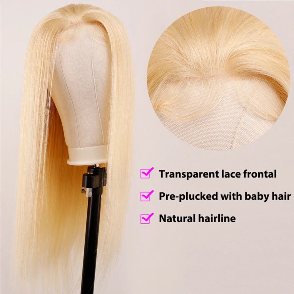 "613 Blonde Straight Brazilian Transparent Lace Wig (12""-32"")"