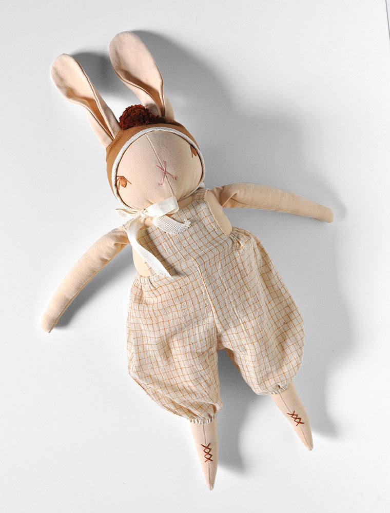 PDC Peach Large Rabbit- ALEX in Butter Grid Overalls