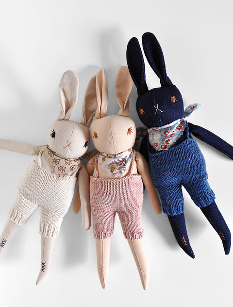 PDC Medium Rabbits in Hand Knit Overalls