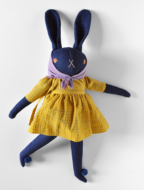 PDC Denim Large Rabbit- ZOEY in Gold Grid