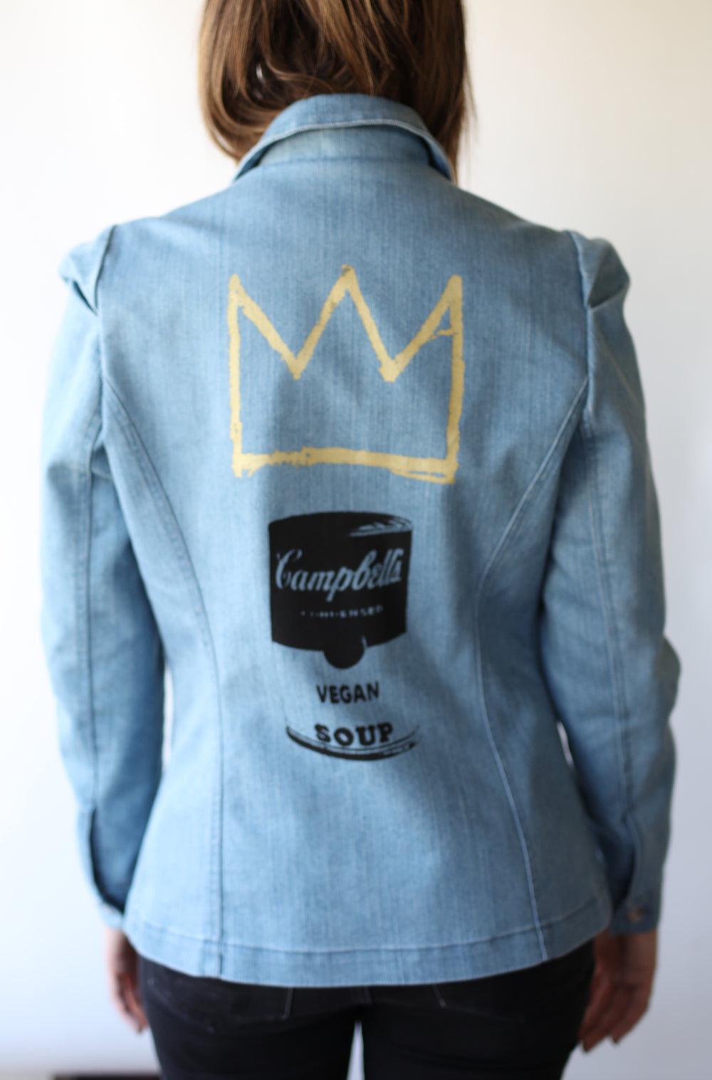 Haute Couture One of a Kind Up-cycled New Jacket a la Basquiat & Warhol Collab & Design by Jarod-Pi