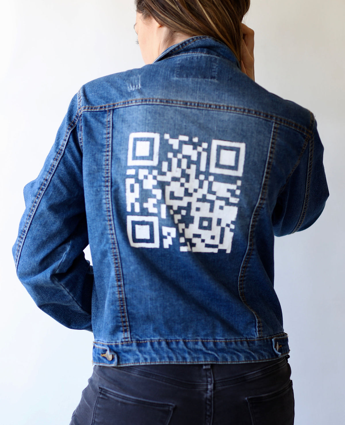 QR Code Jean Jacket (Actual Size of Hen Cage)