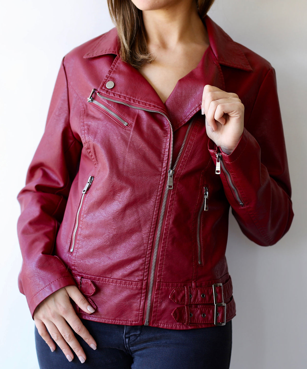 Vegan Rebel Red Faux Leather Jacket
