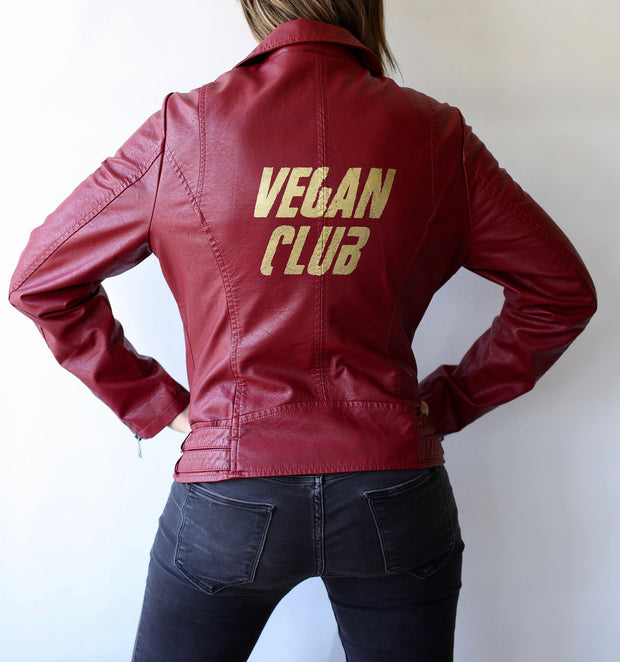 Vegan Club Red Faux Leather Jacket