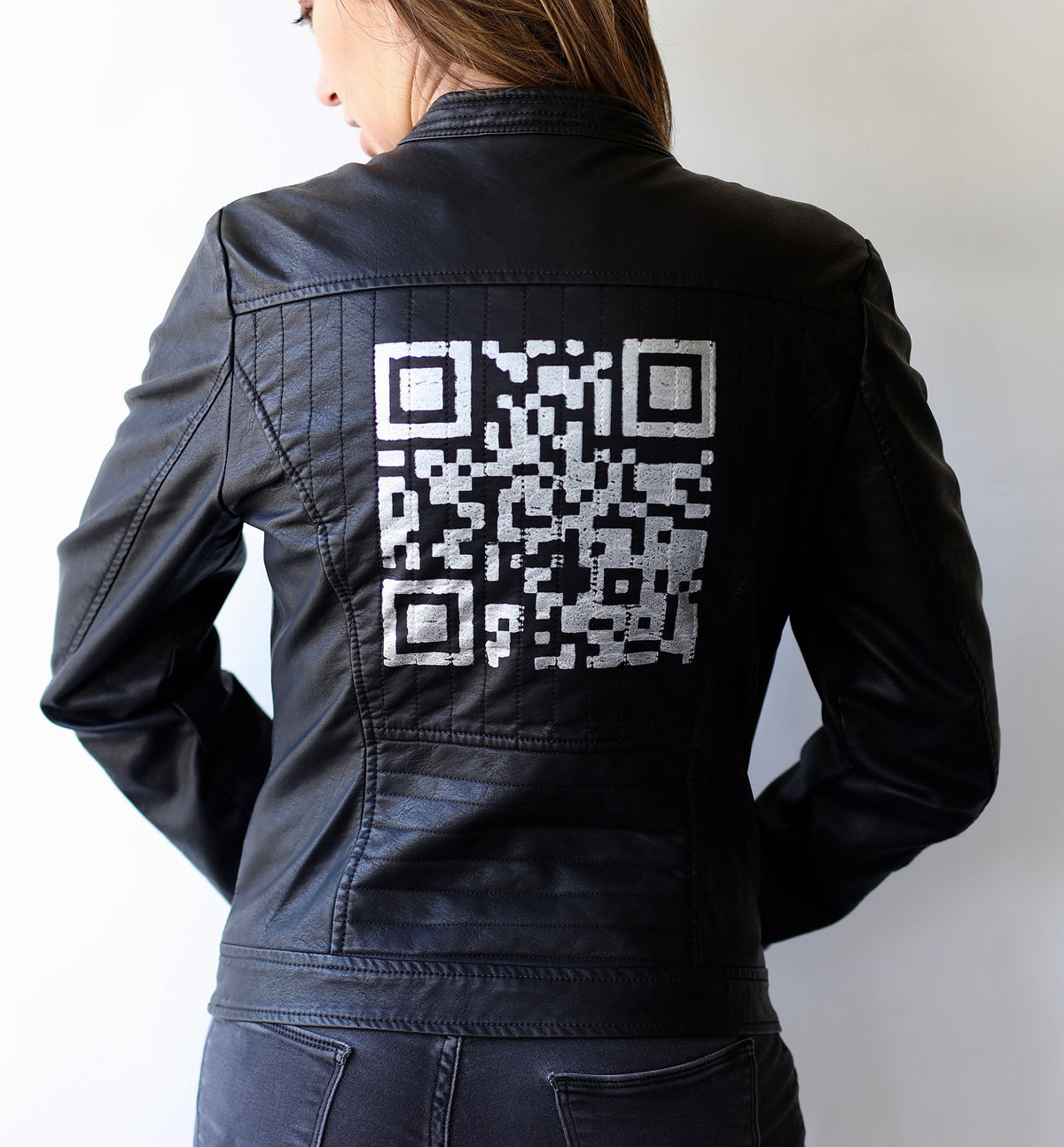QR Code (Actual Size of Hen Cage) Faux Leather Jacket