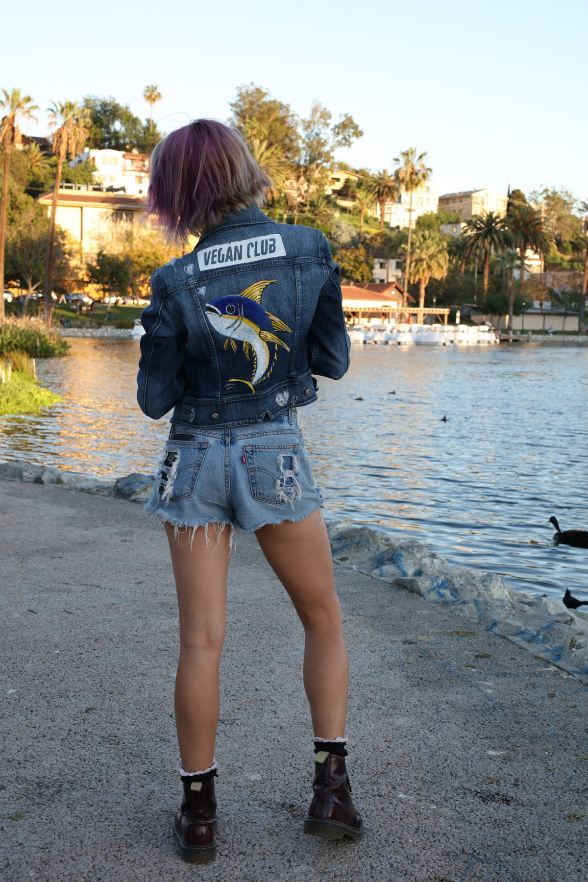 Brandi Jae Collaboration Jean Jacket feat a Fish