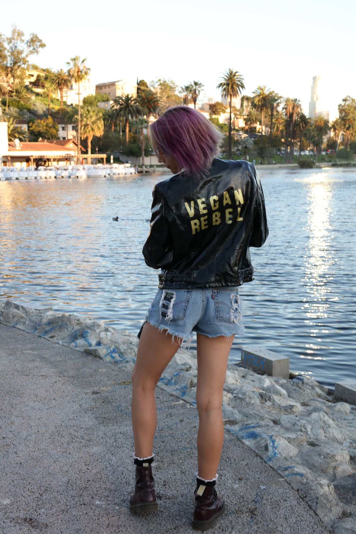Vegan Rebel Shiny Faux Leather Jacket a la Thriller