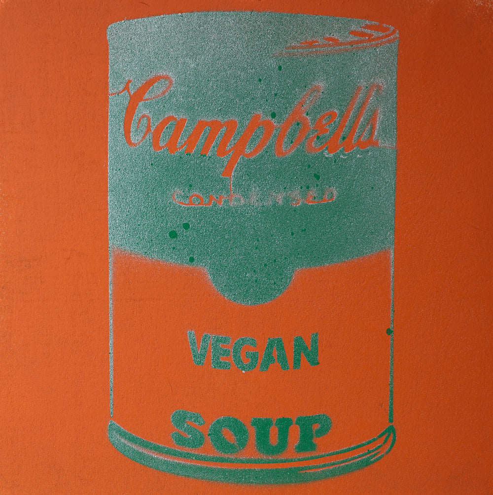 Vegan Soup Burnt Orange & Green Graffiti on Wood and Resin 8x8