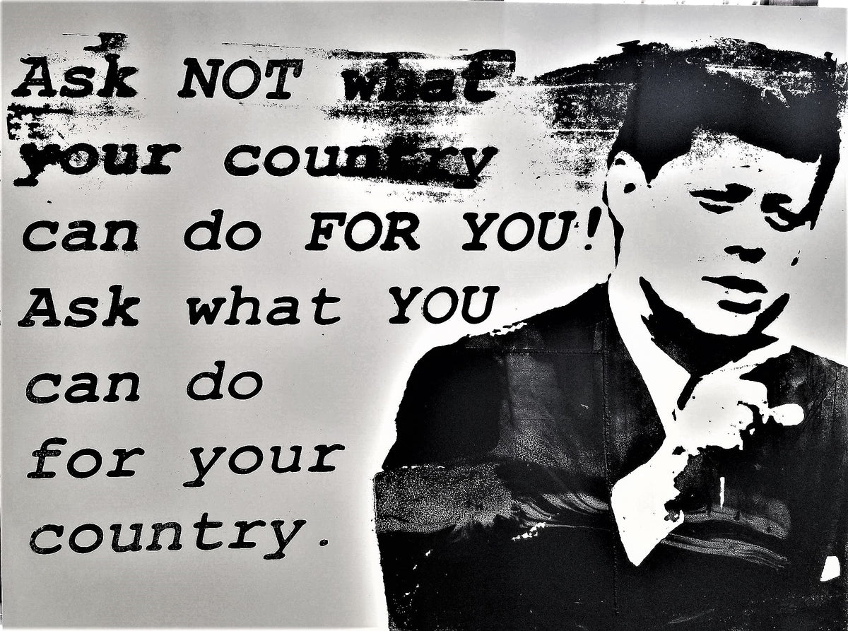 18x24 Original Artwork JFK What you can do for your country, John F. Kennedy