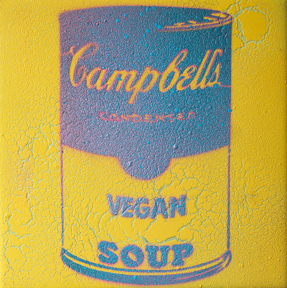 Vegan Soup Yellow & Gradient Blue Graffiti on Wood and Resin 8x8