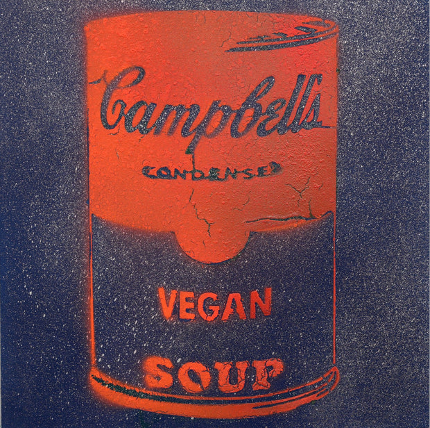 One of a Kind Vegan Soup Artwork made with Dark Blue & Orange Graffiti on Wood and Resin 12x12
