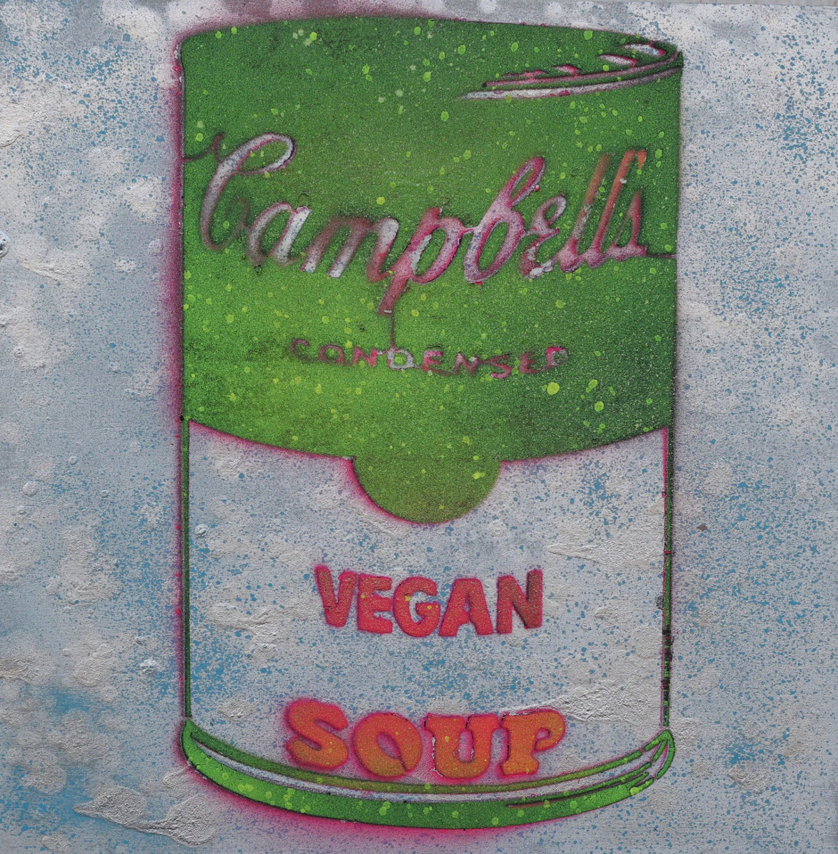 Vegan Soup Green, Blue & Pink Graffiti on Wood and Resin 12x12
