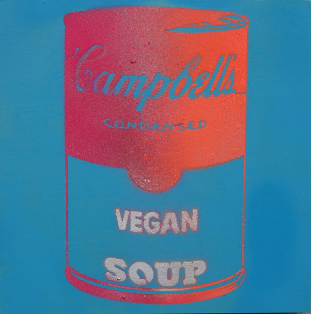 One of a Kind Vegan Soup Artwork made with Sky Blue, Orange & Red on Wood and Resin 12x12