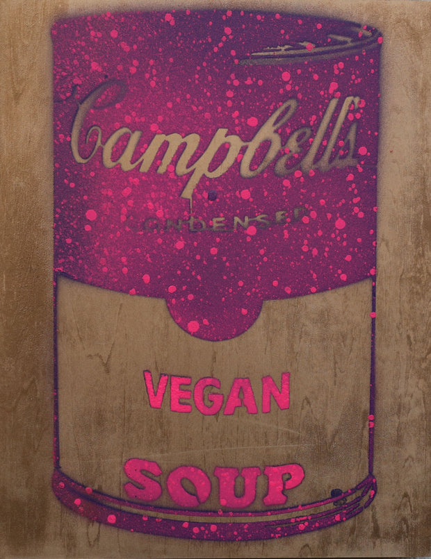 One of a Kind Vegan Soup Artwork made with Purple, Pink & Metal Yellow on Wood and Resin 14x11