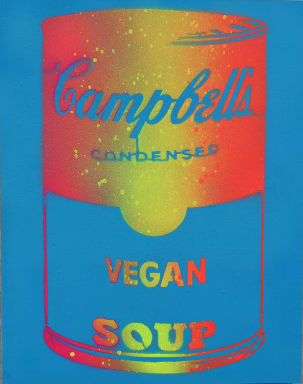 One of a Kind Vegan Soup Artwork made with Blue, Yellow & Orange on Wood and Resin 14x11