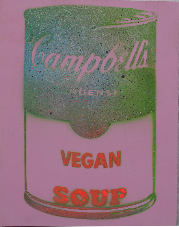 SOLD - One of a Kind Vegan Soup Artwork made with Light Purple, Red & Green on Wood and Resin 14x11