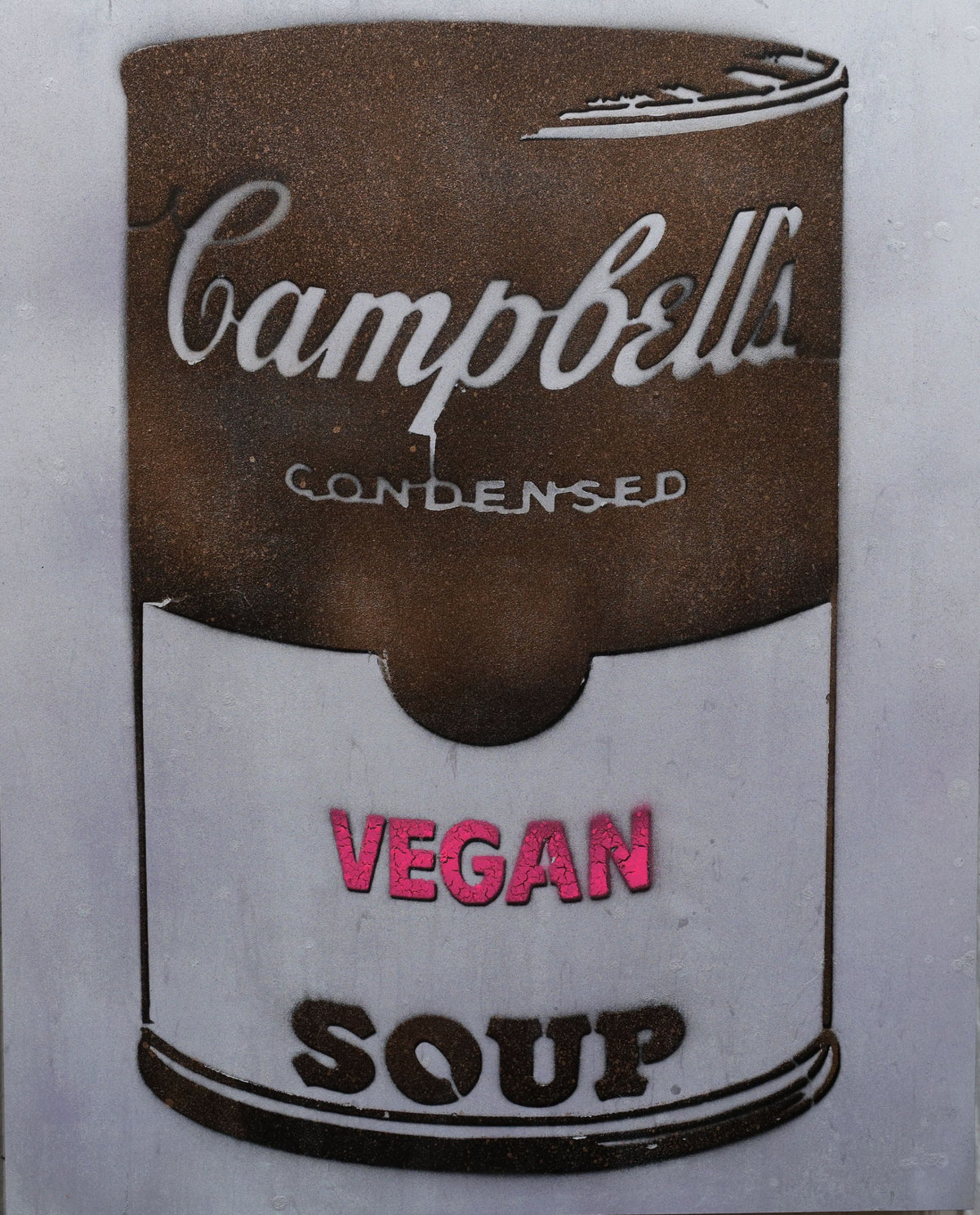 One of a Kind Vegan Soup Artwork made with Gray, Pink & Metal on Wood and Resin 14x11