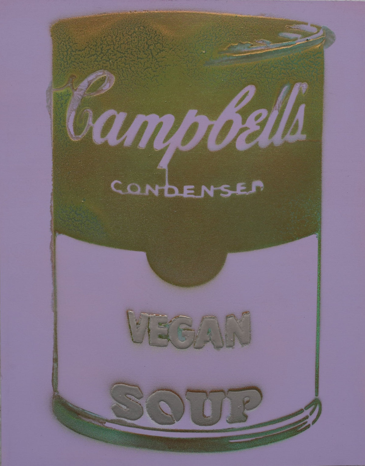 One of a Kind Vegan Soup Artwork made with Purple & Green on Wood and Resin 14x11