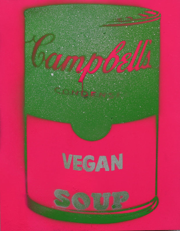 Vegan Soup Pink & Green on Wood and Resin 14x11