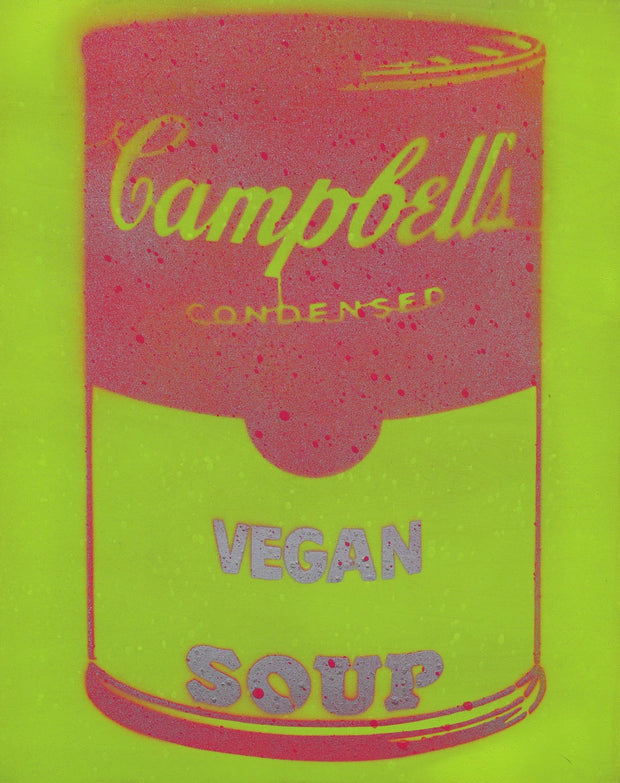 Vegan Soup Yellow & Red on Wood and Resin 14x11