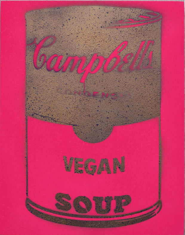 One of a Kind Vegan Soup Artwork made with Pink & Bronze on Wood and Resin 14x11