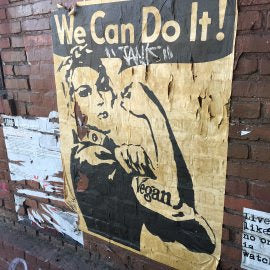 Vegan Rosie the Riveter Mother's Go Vegan Art NewsPrint Propaganda Poster