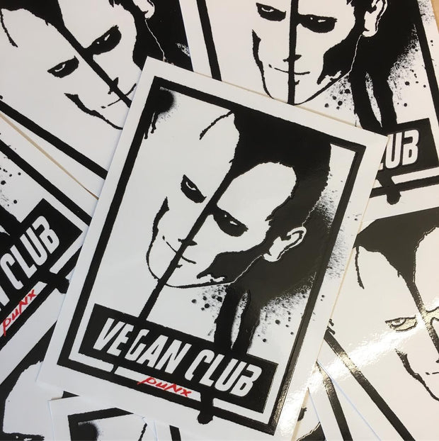 Spread the Word with 12 Vegan Club Stickers with Doyle Wolfgang von Frankenstein, Misfits by Le Fou, collab with Anthony Proetta Jr