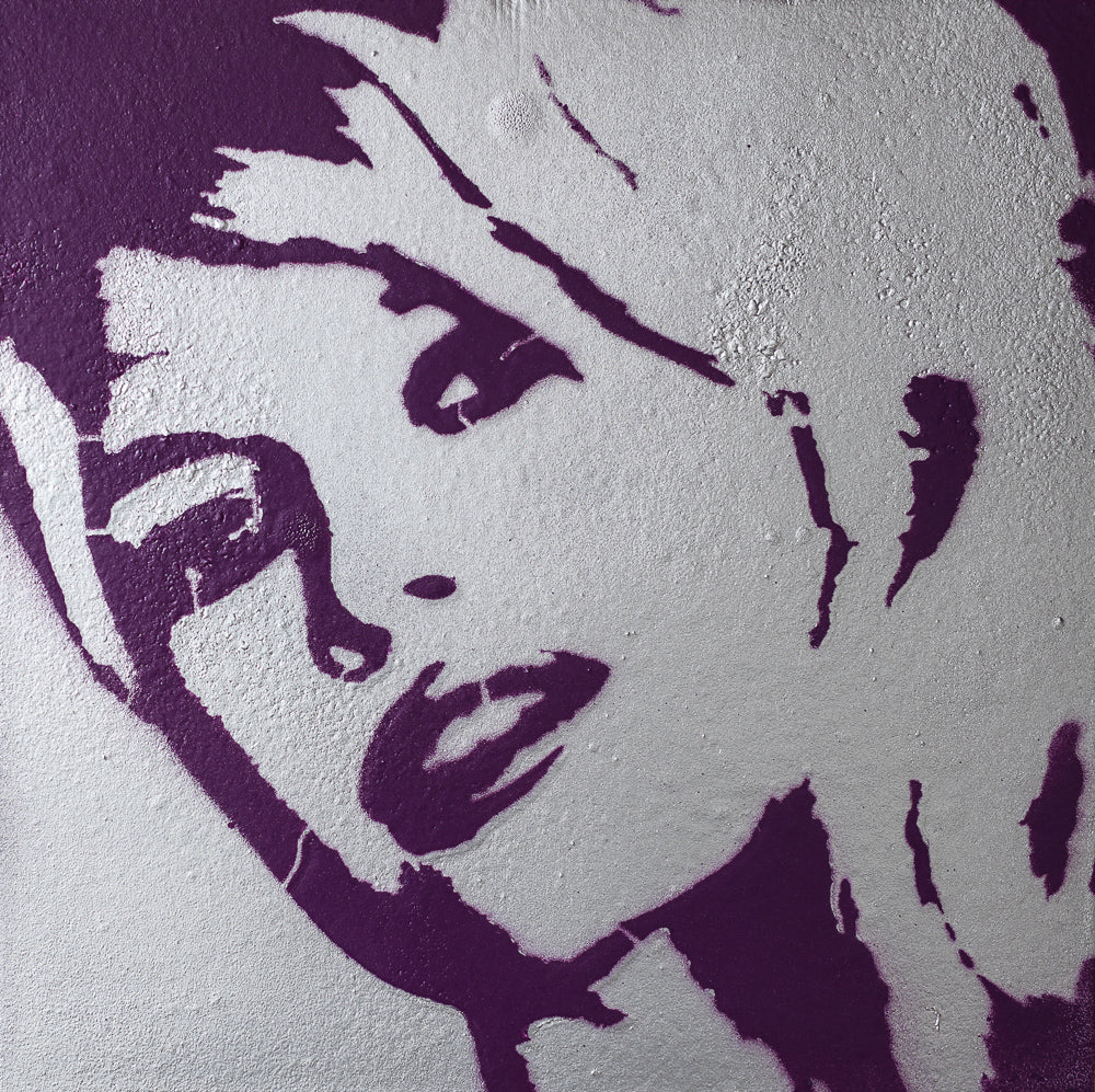 8x8 Original Artwork Brigitte Bardot Silver & Purple