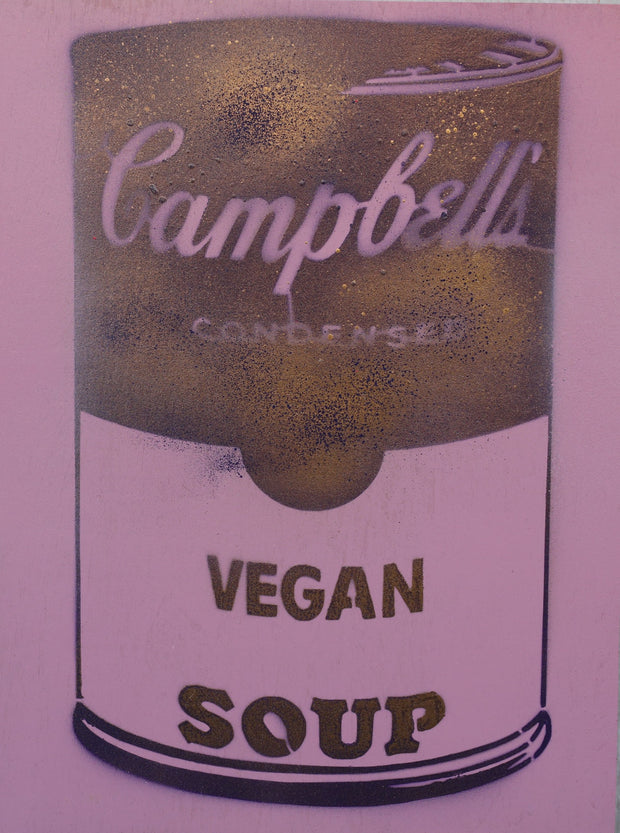 One of a Kind Vegan Soup Artwork made with Purple & Metal on Wood and Resin 16x12