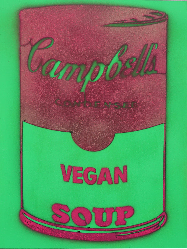 One of a Kind Vegan Soup Artwork made with Green & Red on Wood and Resin 16x12