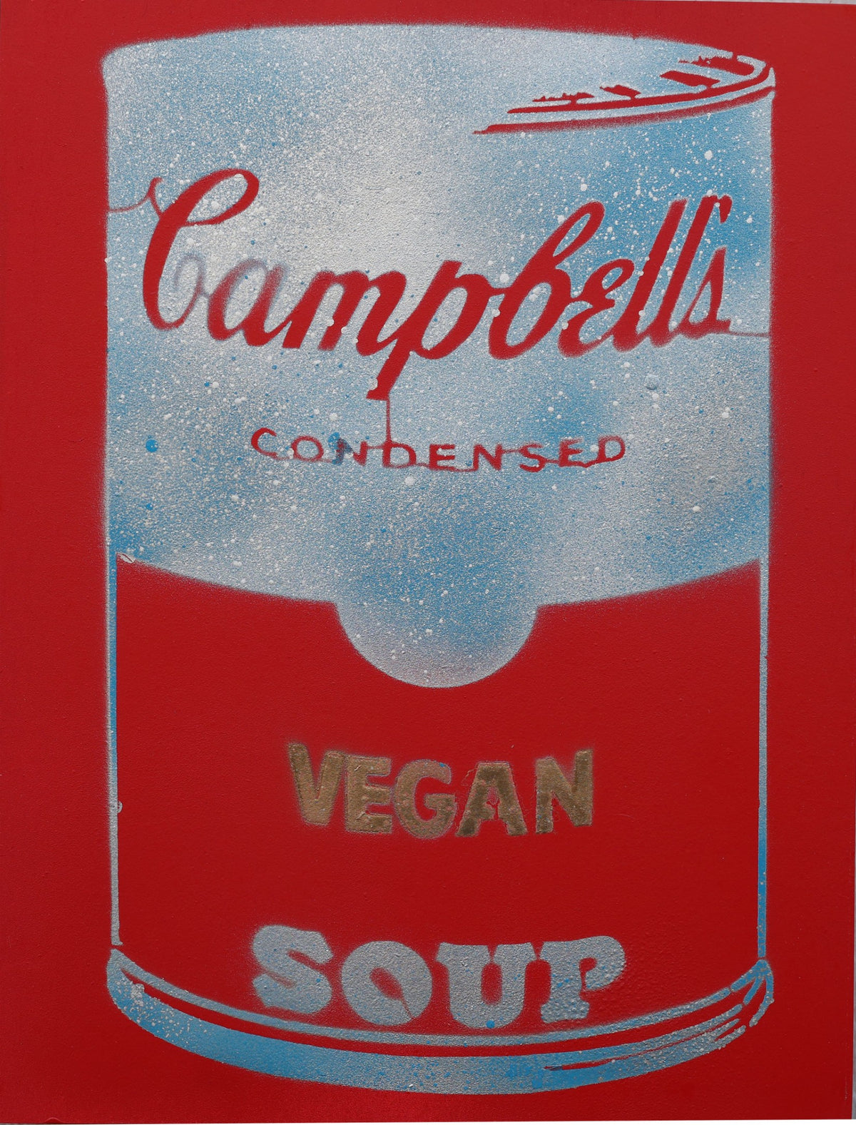 One of a Kind Vegan Soup Artwork made with Red & Cloud Blue on Wood and Resin 16x12