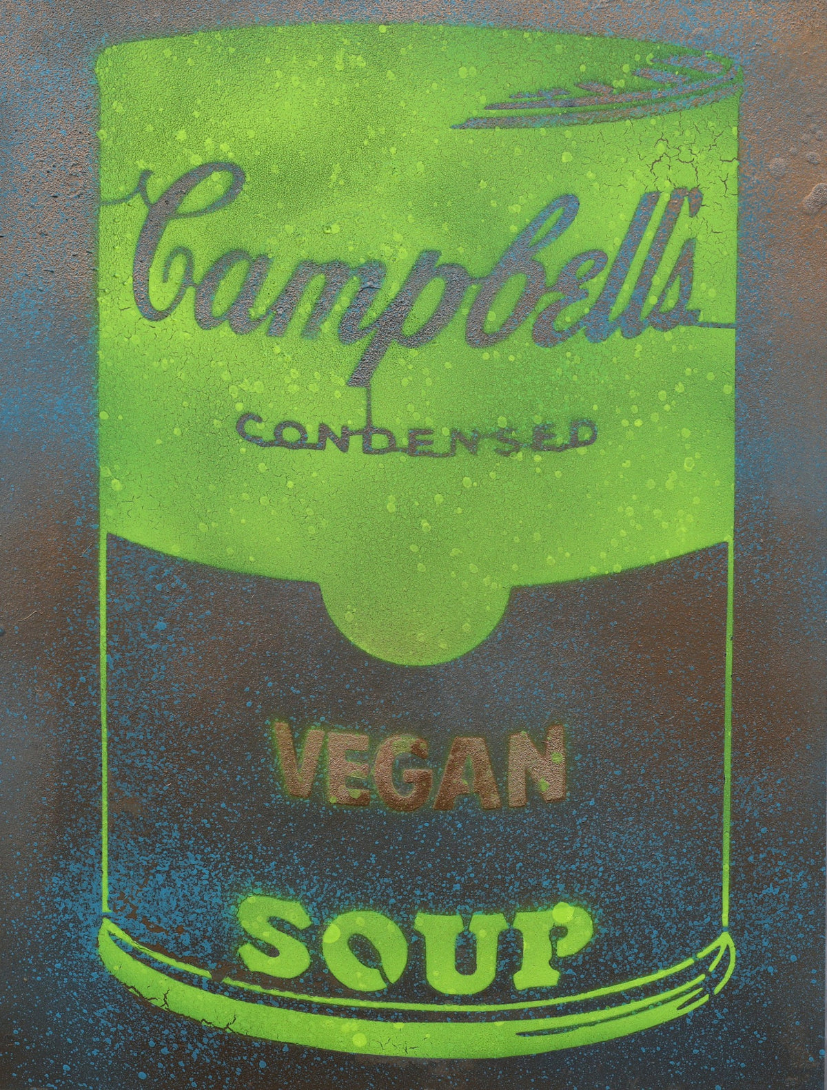 Vegan Soup Yellow & Metal Green on Wood and Resin 16x12