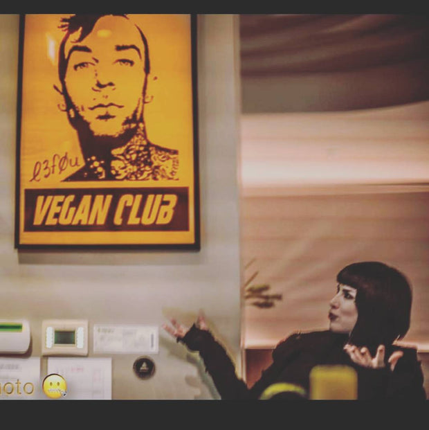 Framed on black wood Street Art NewsPrint Poster 24x36 Vegan Club feat Travis Barker signed by LeFou - pic @thekatvond @chefitophoto @street_art_los_angeles