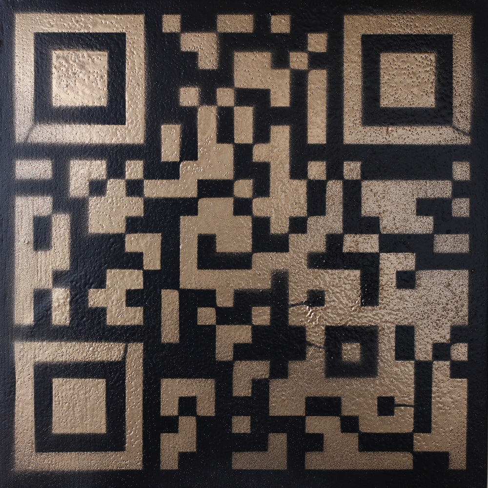 Original Artwork QR Code (Actual Size of a Hen Cage) Black & Gold