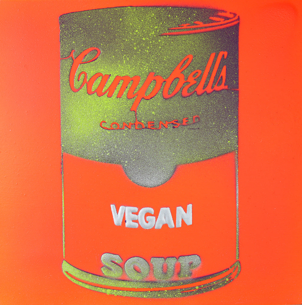 Vegan Soup Orange, Yellow & Silver Graffiti on Wood and Resin 8x8