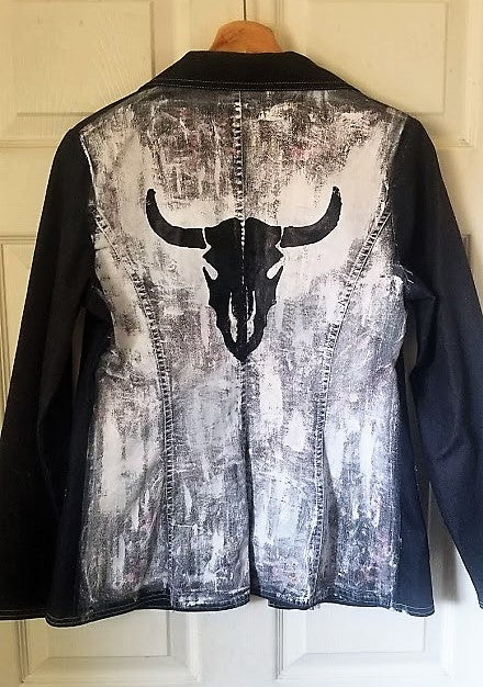 One of a Kind Upcycled Jean Jacket Vegan Club featuring a cow skull hand painted by Le Fou