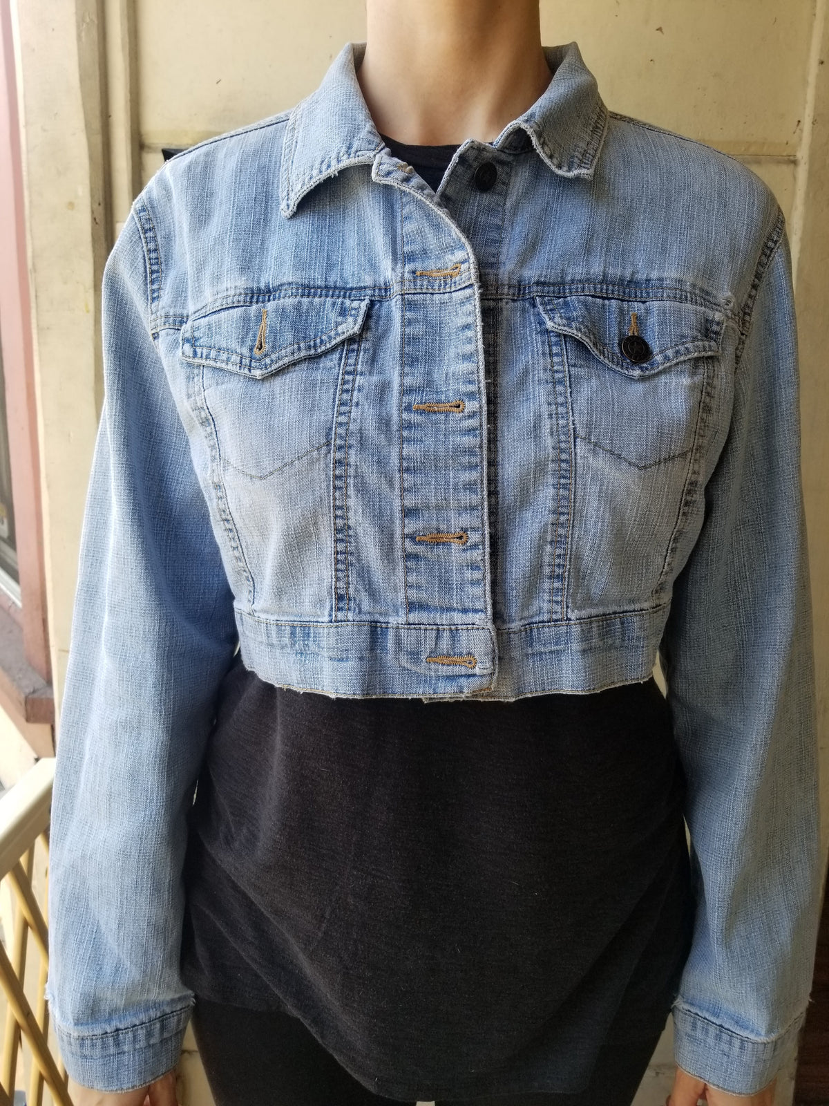 SOLD - One of a Kind Upcycled Jean Jacket Vegan Rebel by Le Fou