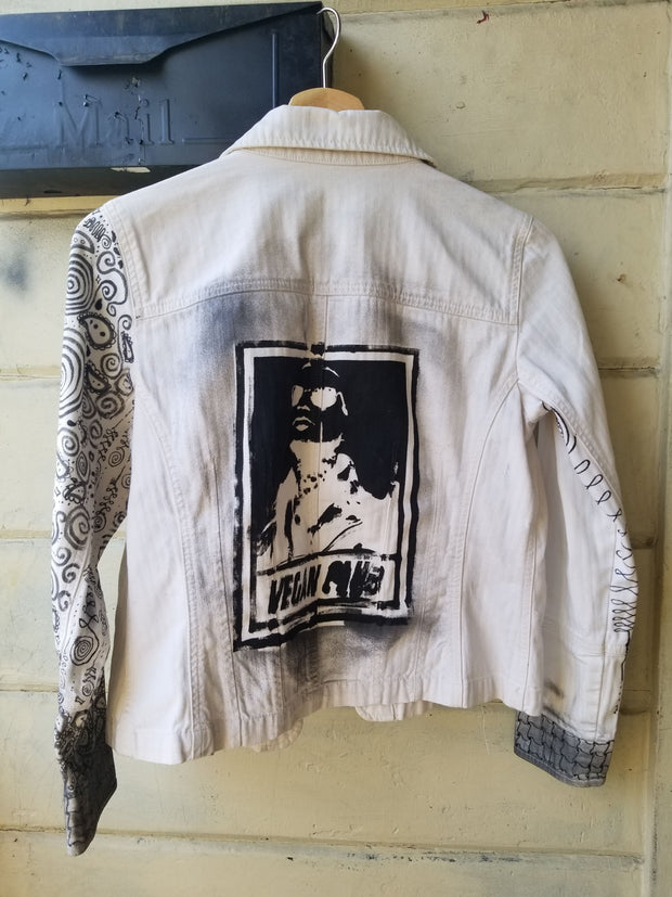 One of a Kind Upcycled Jean Jacket Vegan Club featuring Prayers