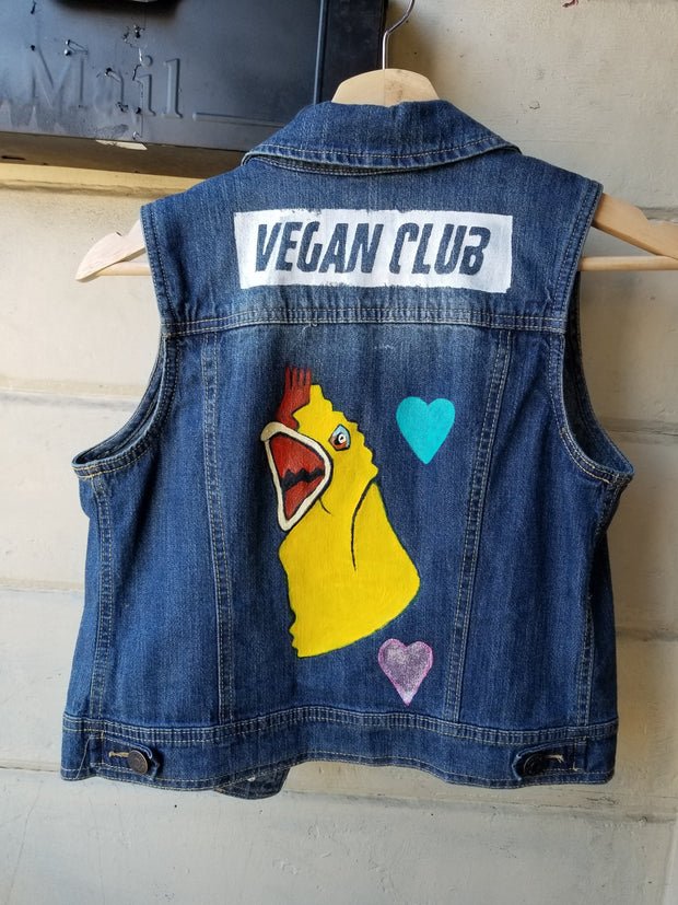 One of a Kind Upcycled Jean Jacket Vegan Club chick collab with @veganartistmelanie