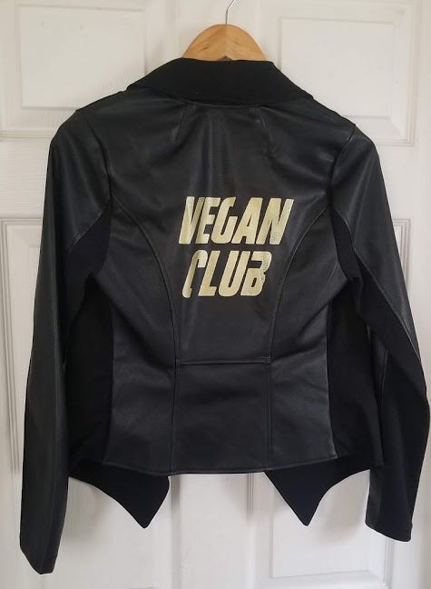 Haute Couture One of a Kind Up-cycled New Faux Leather Jacket with Vegan Club logo