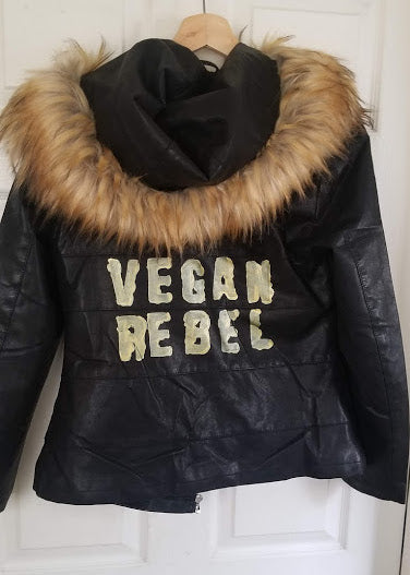 Haute Couture One of a Kind Up-cycled New Faux Leather Jacket with Vegan Rebel logo