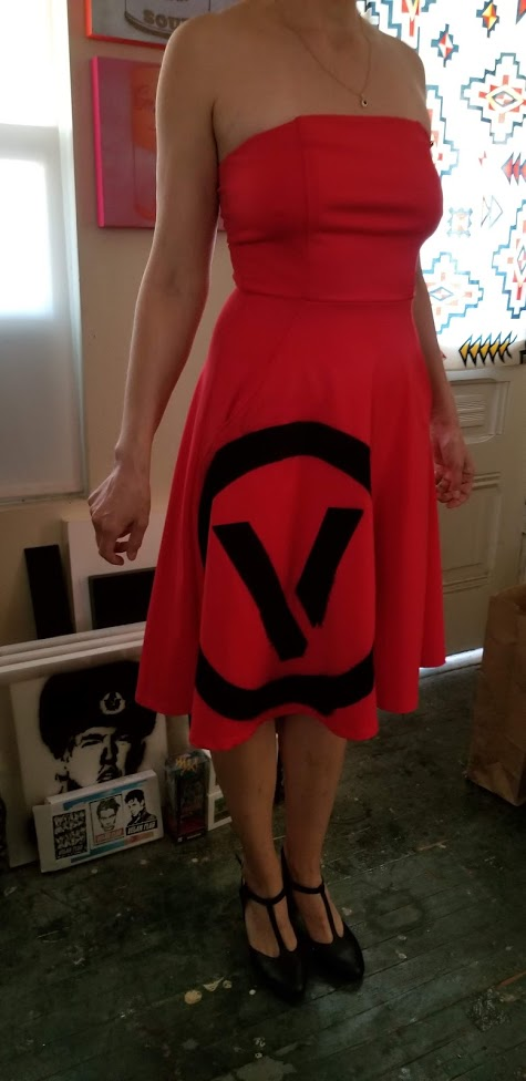 Haute Couture One of a Kind Upcycled & New Dress by Vegan Club sprayed with the Circle V logo