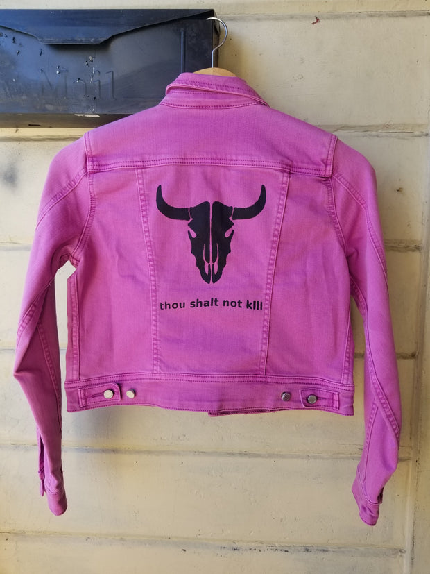 "One of a Kind Upcycled Purple Jean Jacket Vegan Club featuring a Cow ""Thou Shalt Not Kill"""