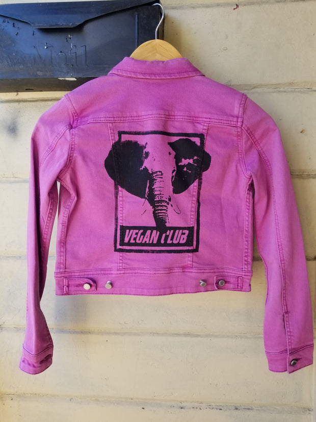 One of a Kind Upcycled Purple Jean Jacket Vegan Club featuring an Elephant