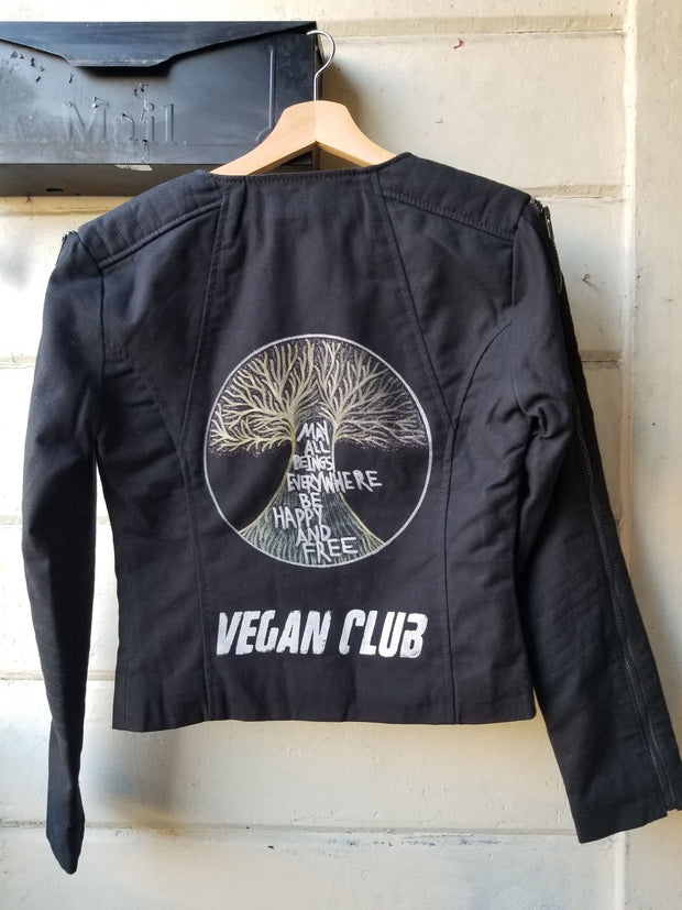 One of a Kind Upcycled Black Canvas Jacket with Zippers Vegan Club collab with Svetlana Penrose Hand Painted Tree of Life