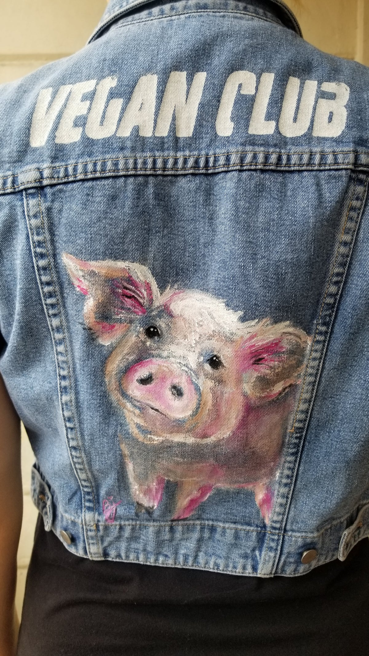 SOLD - Brandi Jae Collab Jean Jacket feat a Pig